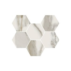 Керамогранит ITALON Charme Evo CALACATTO MOSAICO HEXAGON Паттинированный 25*29